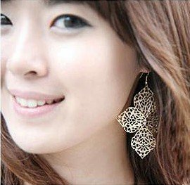 Pierced 4 leaves Earrings,Cute Design,2 colors available fashion earrings+free shipping