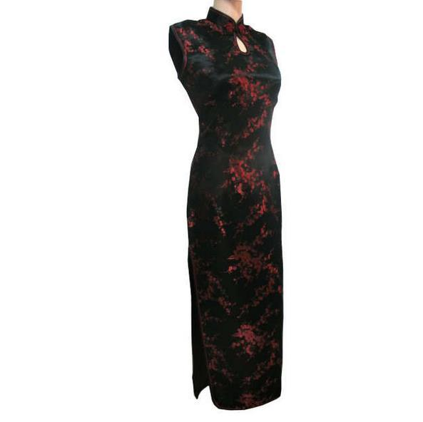 Red Chinese Traditional Dress/Women Silk Satin Cheongsam Long Dripping Qipao