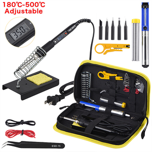 Image 1 - JCD Adjustable Temperature LCD Soldering iron kit 110V 220V 80W Solder welding tools soldering tips wire Desoldering Pump Heater