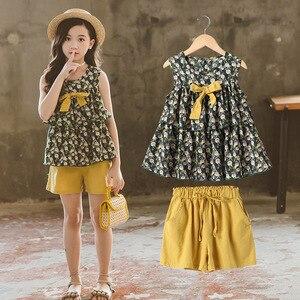Image 2 - Conjunto de ropa de verano para niñas, Tops y pantalones cortos sin mangas, traje informal, chándal, 6, 8, 10 y 12 años