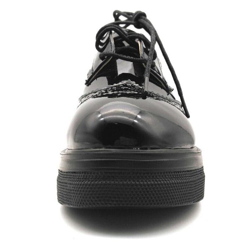a8dd75c1 E TOY WORD Zapatos de plataforma de la marca de primavera de las mujeres  Zapatos planos de la mujer de charol de Brogue zapatos con cordones planos  de ...