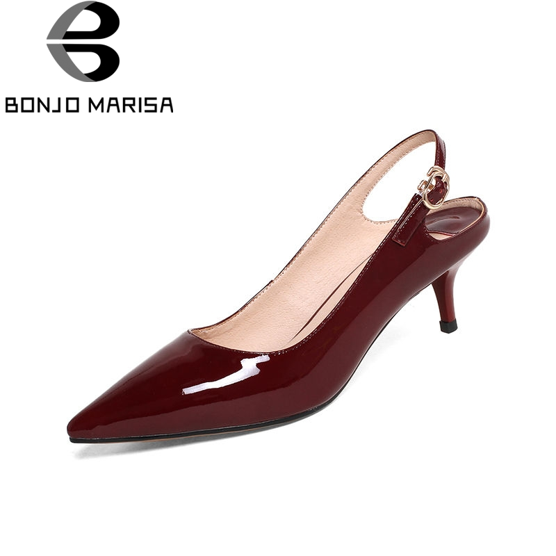 BONJOMARISA 2018 Summer Sexy Shallow Women Slingbacks Pumps Overall Genuine Leather Med Heels Ol Shoes Woman Pointed Toe Shoes shofoo newest women shoes med heels pointed toe pumps for woman dress