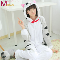 Adult Unisex Cartoon Animal Jumpsuits All In One Pajamas Cheese Cat Cosplay Halloween Party Lovers Flannel