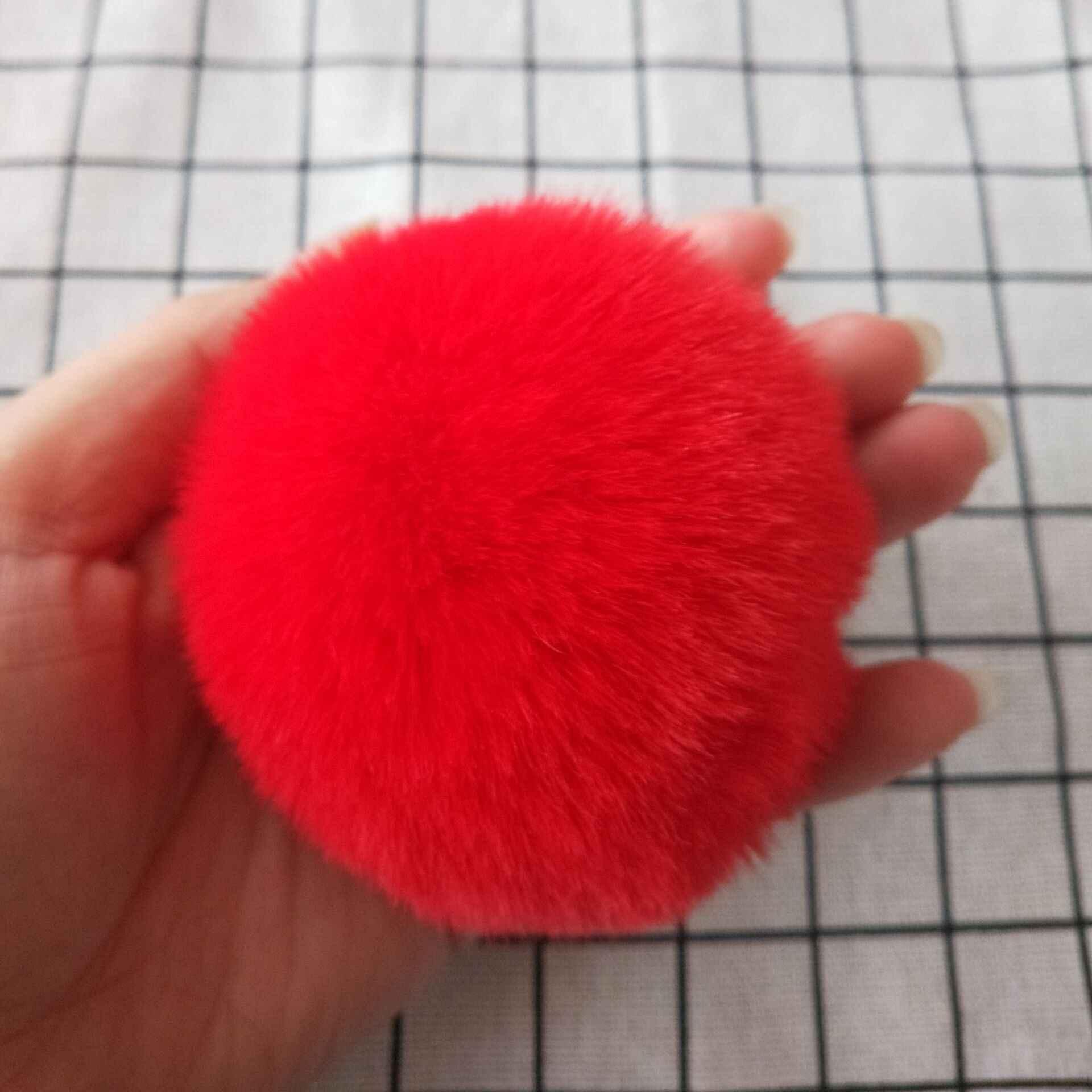 8 cm Pompom De Pele Macia Suave Faux Rex Coelho Bola De Pêlo DIY para Mulheres Saco Anel Chave Do Carro Chaveiro Pingente jóias Diy Chaveiros