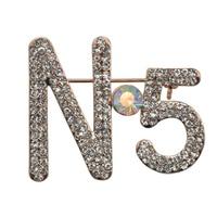 Dziewięć Kwiat Marka Hot Sprzedaż Urocze Pełna Rhinestone N 5 Kobiety Broszka Moda Luksusowa Projektanta Biżuterii