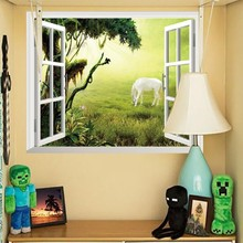 Hot Selling Removable 3D Mural Wallpaper Window Grassland Horse Wall Stickers for Home Living Room Office Decoration