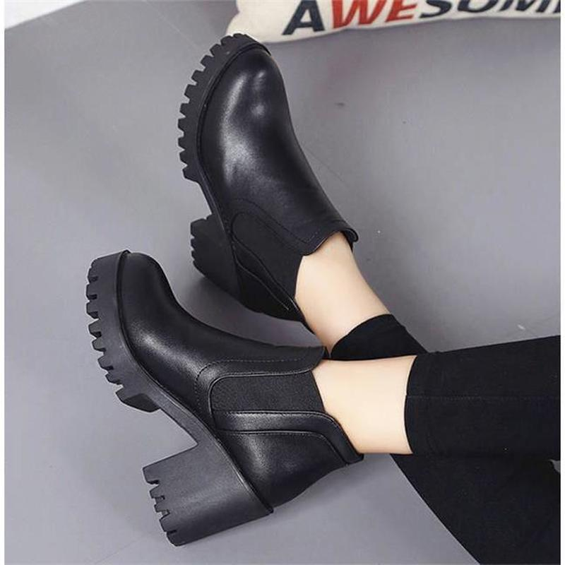LZJ Ankle-Boots Heel Spring Black Autumn Women Ladies Big-Size New-Fashion Thick 40