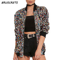 2017 Autumn Sequin Bomber Jacket Women Basic Coats Cardigan Long Sleeve Baseball Jackets Jaqueta Feminina Inverno