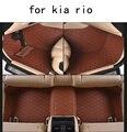 Para KIA RIO firme tapetes Do Carro resistentes ao Desgaste de couro pu-marrom preto Não-slip feitos à prova d' água Tapetes do assoalho do carro