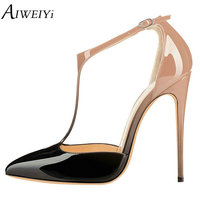 AIWEIYi 2017 Women Sandals Thin High Heel Heel Pointed Toe Platform Women Shoes Ankle Strap T