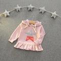 2-7años Niñas Bebés Casual Geométrica Sudaderas 2016 Nuevos de Manga Larga de Color Rosa Con Capucha Sweatershirt Niñas Muchachas de la Ropa Abrigo
