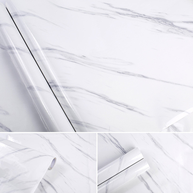 Hot Sale Modern Waterproof PVC Self Adhesive Wallpaper Marble Contact Paper Kitchen Cupboard Shelf Drawer Liner Wall Stickers