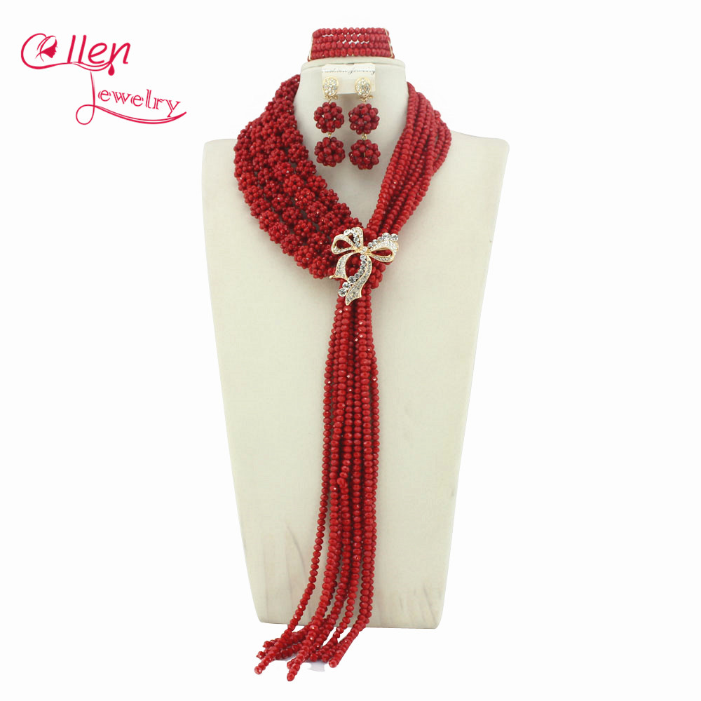 Fashionable Nigerian Wedding African Beads Bridal Jewelry Set Red Costume African Jewelry Sets Free Shipping WS5180 amazing red nigerian wedding african beads jewelry set costume african jewelry sets bridal beads necklace free shipping abl001