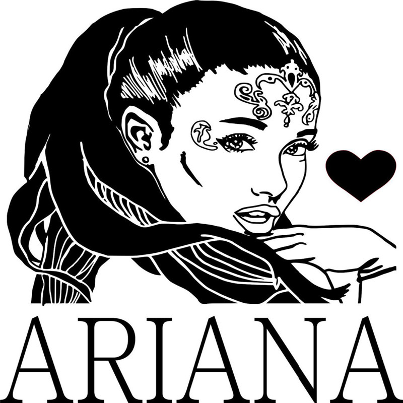 R&B Singer Star Ariana Grande DIY Wall Art Sticker Baby Wall Decal Custom Color Vinyl Wall Stickers For Girl Room
