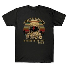 David Bowie ThereS A Starman Waiting In The Sky Vintage MenS T Shirt 2019 Summer 100% Cotton Basic Style Hip Hop T Shirt