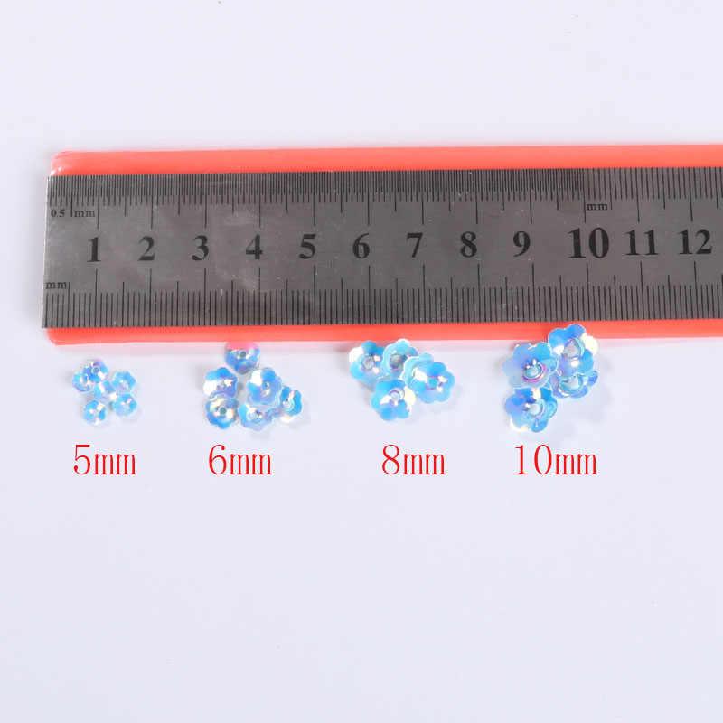 3D ถ้วย Plum Blossom เลื่อมขนาด 5 มม. 6 มม. 8 มม. 10 มม. ดอกไม้ Sequins Lentejuelas อุปกรณ์สำหรับเย็บปักถักร้อย Craft เครื่องประดับเครื่องแต่งกาย
