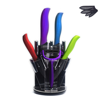 XYJ Brand Zirconium Ceramic Knife Black Blade ABS +TPR Handle 3 4 5 6 Inch Knife + Peeler + Kitchen Knife Stand Beauty Gift