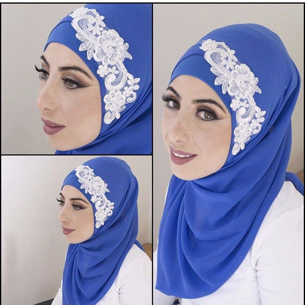 US $11.11 11 Designer Muslim Veils Blue Appliqued Lace Hijab Bridal  Headdresses Wedding Accessorieswedding accessoriesdesigner wedding