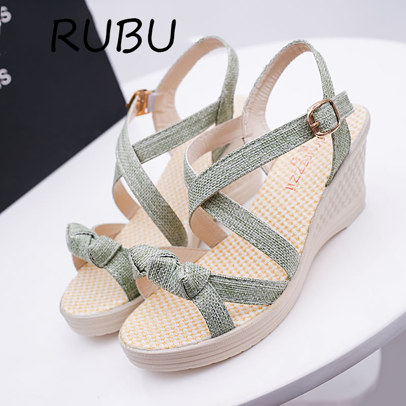 Women Platform Sandals Buckle Wedge Bowtie Shoes Woman Gladiator Sandals High Heels Wedge Casual Ladies Summer Shoes Size 35-41 phyanic 2017 summer gladiator sandals straw platform creepers silver shoes woman buckle casual women flats shoes phy4046