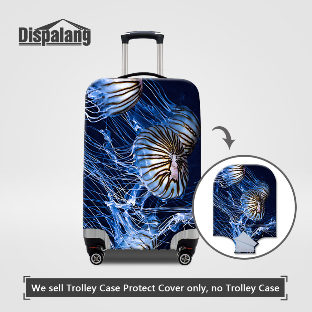 Dispalang Jellyfish Print Animal Protective Luggage Cover For 18-30 Inch Trolley Suitcase Elastic Dust Cover  Travel Accessories