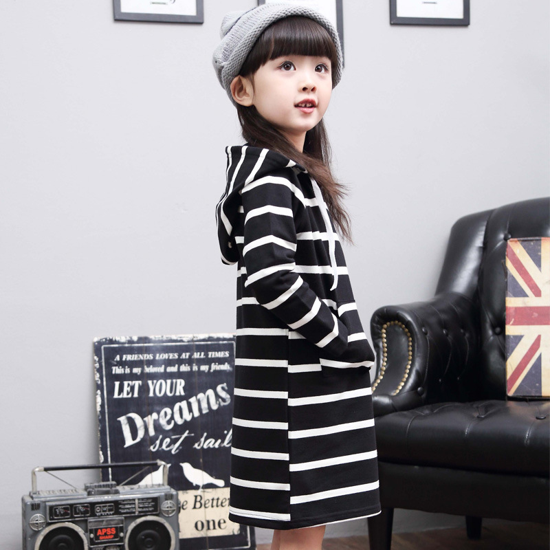 baby girl kids clothes children clothing fashion Striped dresses long sleeve Jacket cotton 2-7 yrs 2016 autumn new dress coat fashion kids baby girl dress clothes grey sweater top with dresses costume cotton children clothing girls set 2 pcs 2 7 years