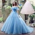 Nueva película de la princesa cenicienta cosplay dress para adultos 2016 fancy cosplay vintage blue ball gown prom party dress 26240