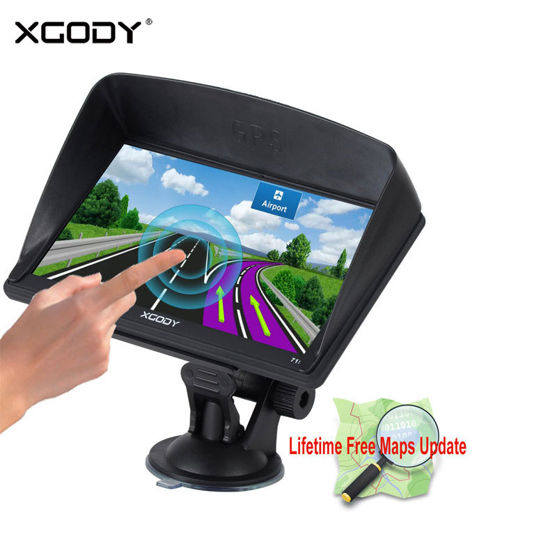 Xgody 715 7 Inch Gps Navigation Car Truck Gps Navigator 128MB+8GB Capacitive Screen Sat Nav Newest Europe Map Russia Navitel 7 inch hd car gps navigation bluetooth avin capacitive touch screen fm 8gb vehicle truck gps europe sat nav lifetime map