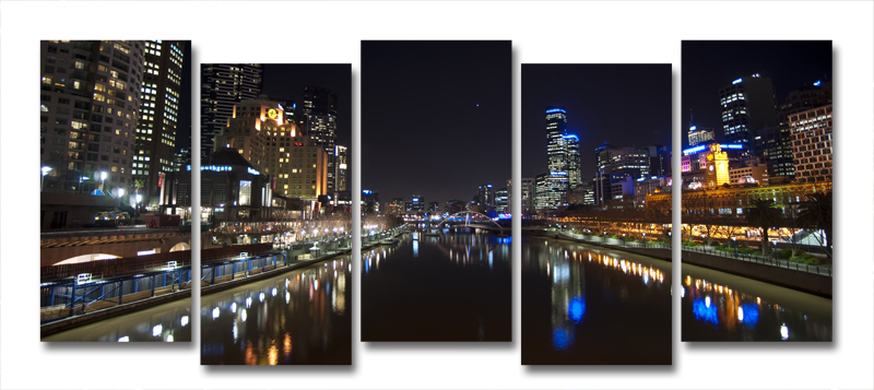 Yarra River Melbourne City At Night Modern Wall Art On Canvas Prints ...