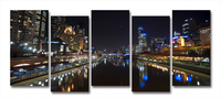 Yarra River Melbourne City At Night Modern Wall Art On Canvas Prints Set Of 5
