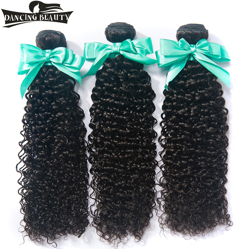 DANCING BEAUTY Human Hair Curly Weave 3 Bundles Non Remy Peruvian Hair Extensions Natural Color 8-26 Can Be Bleached