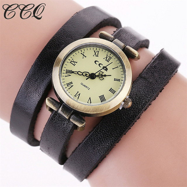 CCQ Brand Vintage Cow Leather Roma Watch