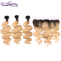 Ombre 1b27 Hair Color Brazilian Blonde Color Hair Wefts 3 Bundle with 13*4 Ear to Ear Lace Frontal Remy Human Hair Dream Beauty