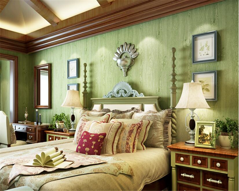 beibehang Retro Light Green Wooden Wallpaper Bedroom Living Room TV Vanity Background Nonwoven Striped papel de parede Wallpaper
