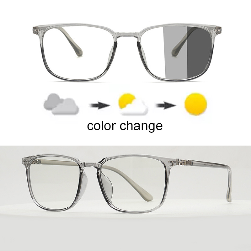 Blue Light Blocking Glasses Square Nerd Eyeglasses Frame Anti Blue Ray Computer Game Photochromic UV400 Outdoor SunGlasses
