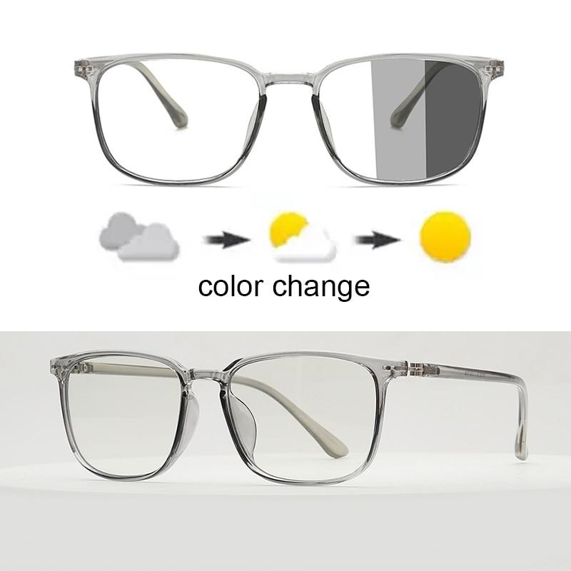 Blue Light Blocking Glasses Square Nerd Eyeglasses Frame Anti Blue Ray Computer Game Photochromic UV400 Outdoor SunGlasses