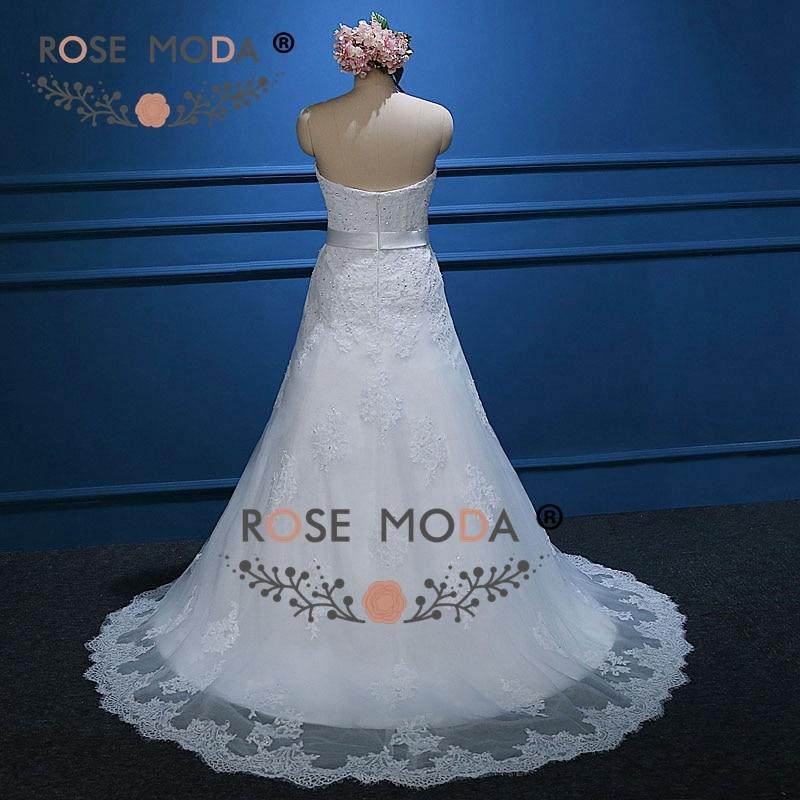 Rose Moda Weichen Schatzausschnitt Spitze A Line Brautkleider mit ...