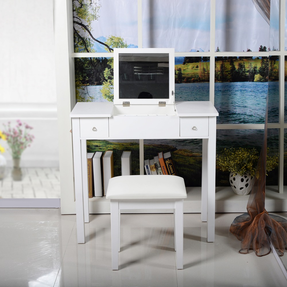 Fashion Modern Home Decoration Room Bedroom Storage Dresser With Dressing Table Stool With Mirror 75*80*40cm ship from germany home white dressing table with mirror and stool make up dresser set