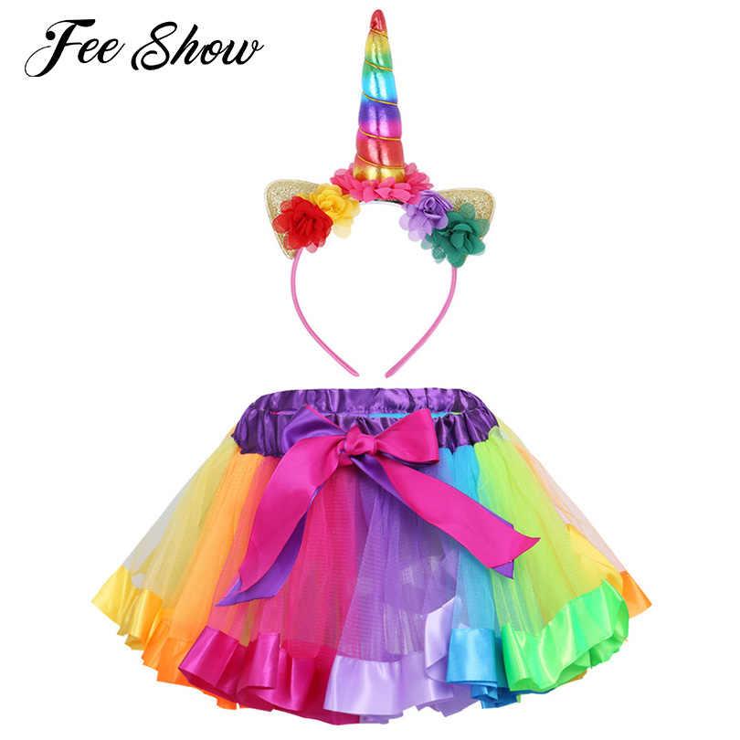 SZ 2-6 красочные детские девушки Радуга Стиль пачка с оборками юбка с обруч для волос Набор для балетный танцевальный карнавальный костюм Косплэй Dancerwear