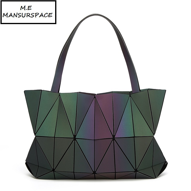 MANSURSPACE Hot Sale New Bag Women Luminous sac bao Bag Diamond Tote Geometry Quilted Shoulder Bags Saser Plain Folding Handbags geometry laser women bao bao bags women shoulder bag transformation luminous laser geometric bag diamond lattice women handbags