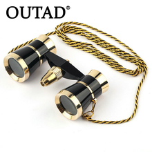 Discount! OUTAD Black 3×25 Glasses Coated Binocular Telescope Theater/Opera glass /lady glass with Gold Trim & Necklace Chain Well Sell