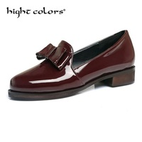 New Women Oxfords British PU Patent Leather Platform Flats Spring Round Toe Slip on Casual Shoes Woman Bowknot Design