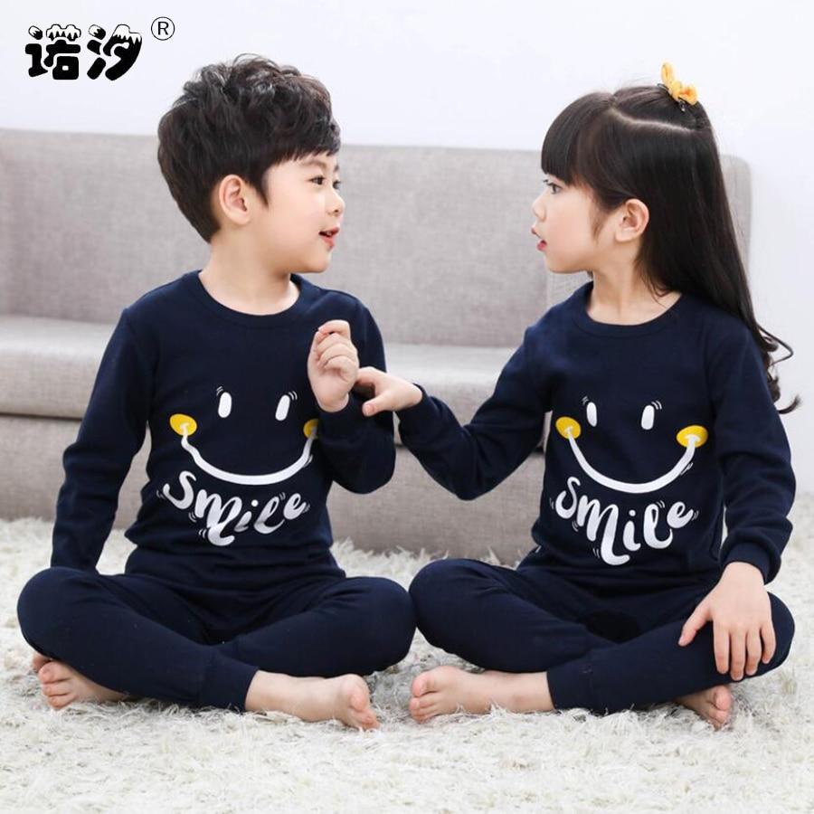 купить Kids Boys Sleepwear baby girl winter cotton sets Children Homewear Pajamas for Boy Pyjamas Kids Nightwear 2-13Y teenage clothes по цене 662.3 рублей
