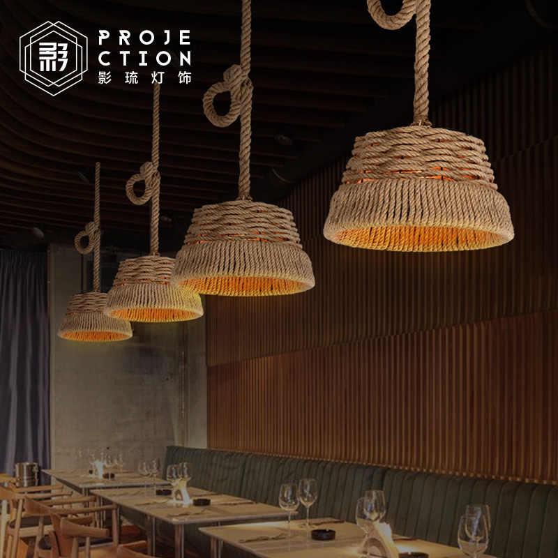 Американский кантри Винтаж droplight кованого железа Винтаж Лофт промышленный пеньковый веревочный подвесной светильник