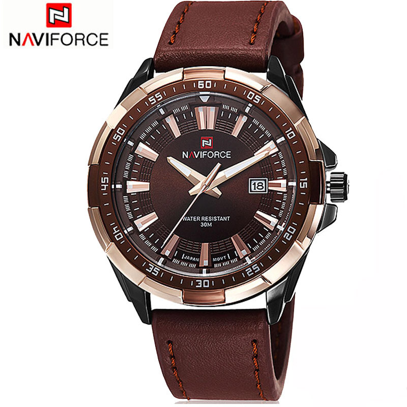 NAVIFORCE Men's Fashion Casual Sport Watches Men Waterproof Leather Quartz Wristwatches Man military Clock Relogio Masculino 2017 new top fashion time limited relogio masculino mans watches sale sport watch blacl waterproof case quartz man wristwatches
