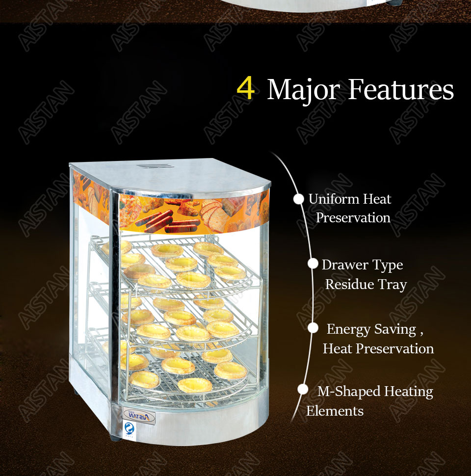 DH1P Commercial Countertop Electric Stainless Steel snack bread pizza Food Warmer Display Showcase 3
