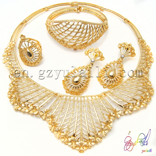 Free shipping perfect design jewelry set gold plated Arabic bridal