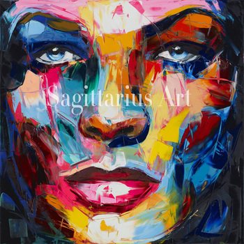 Hand Painted Cool Face Art Francoise Nielly Designer Palette knife Untitled 127 Oil painting canvas Bedroom hallway Wall Decor
