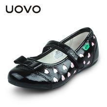 Girls Bright Leather Shoes Uovo Brand Black Love Design Princess Dress Shoes Casual Flats Size 31-35 Kids School Espadrilles(China)
