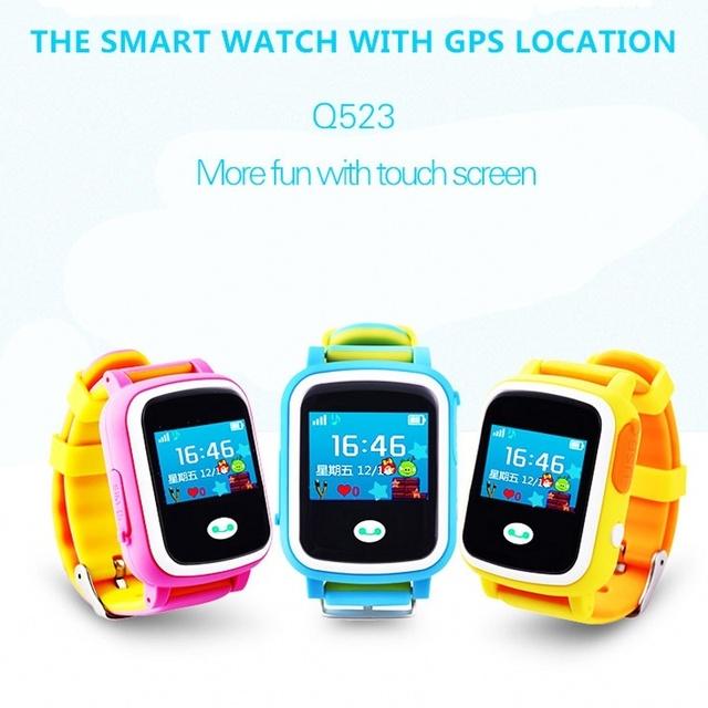 2016 kid gps smart watch reloj sos tracker dispositivo de localización de llamadas de Seguros para Niños Anti Perdido Monitor de Bebé Regalo Q523 PK Q50 Q60