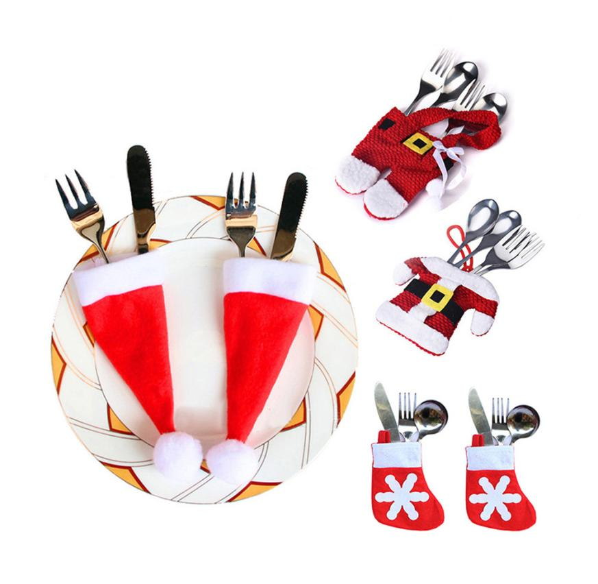 Ouneed Cute 6PCS Christmas Clothes Cutlery Cover Fork Knife Pocket Christmas Decor Bag Table Mat Drop Shipping Happy Sale ap706